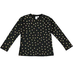 Maglietta in cotone con stampa a pois laminati ido NERO-ORO-6AH6