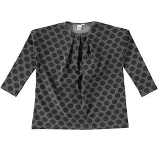 Maxi maglietta bambina vestibilità morbida e leggermente svasata ido GRIGIO-NERO-6Z95