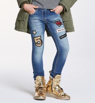 Pantalone slim fit in felpa effetto denim con stella e rose ido STONE BLEACH-7350
