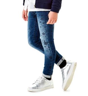 Pantalone bambina in felpa effetto denim stampato a stelle ido DENIM-BLU-6Z47
