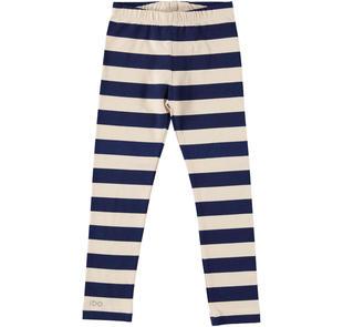 Leggings bambina in cotone con righe ido BEIGE-BLU-6Z53
