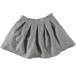 Gonna bambina a pieghe in elegante panno laniero ido PANNA -NERO-8206
