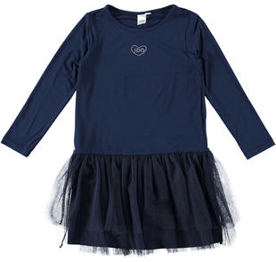 Abito a manica lunga in jersey di viscosa stretch ido NAVY-3854