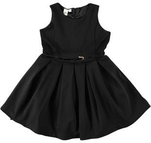 Elegante vestitino scamiciato bambina in punto milano stretch ido NERO-0658