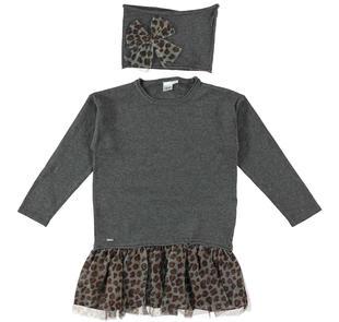 Mini abito bambina misto cotone e lana ido GRIGIO-MARRONE-8396
