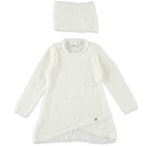 Mini abito bambina in speciale tricot effetto pelliccia ido PANNA-0112