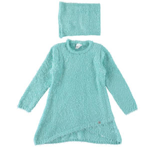 Mini abito bambina in speciale tricot effetto pelliccia ido ACQUA-4145