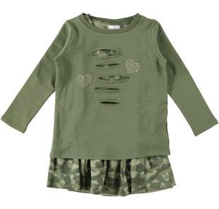 Vestitino bambina due pezzi con maglietta con cuori di borchie ido VERDE-VERDE-8232