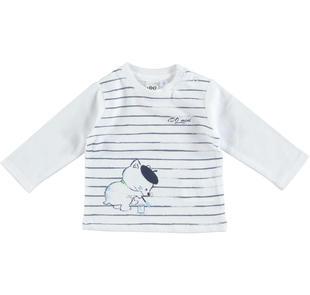 Maglietta 100% cotone con gattino pittore ido BIANCO-BLU-8020