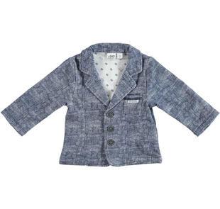 Elegante giacca in felpa fantasia melange ido BLU-BIANCO-6BL7
