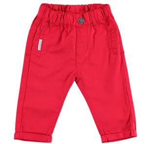 Pantalone 100% cotone con risvoltino ido ROSSO-2256
