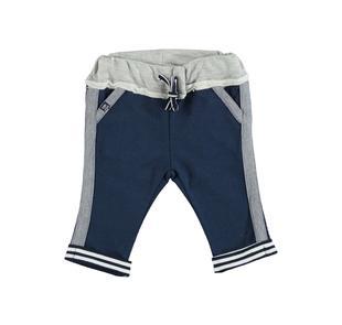 Pantalone in felpa 100% cotone con risvoltino rigato ido NAVY-3856