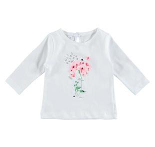 Maglietta girocollo 100% cotone con fiori e strass ido BIANCO-0113