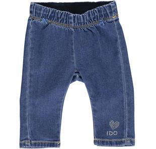 Pantalone in felpa effetto denim con cuore di strass ido STONE WASHED-7450
