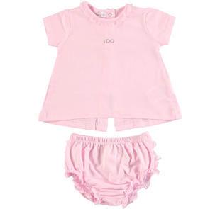 Completo t-shirt e culotte con rouches ido LIGHT PINK-5819