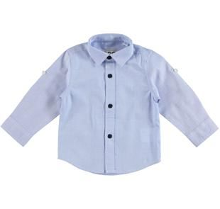 Camicia classica 100% cotone a manica lunga con laccetto interno ido AZZURRO-3811