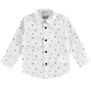 Camicia con fantasia bottoni ido BIANCO-BLU-6BA9