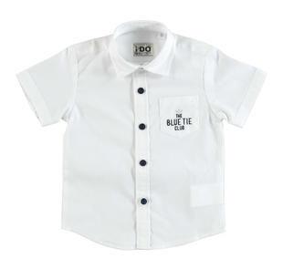 Camicia a manica corta realizzata in speciale tessuto di cotone ido BIANCO-0113