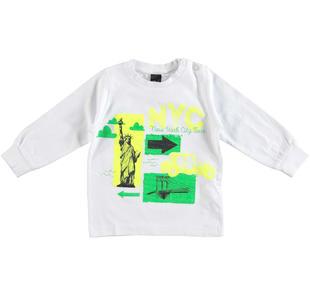Maglietta girocollo in cotone con stampa New York ido BIANCO-0113