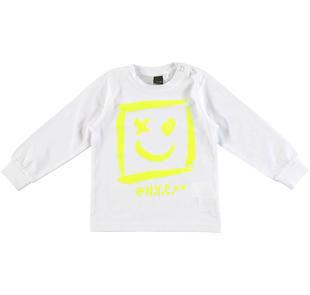Maglietta girocollo con stampa smile ido BIANCO-0113
