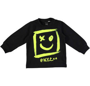 Maglietta girocollo con stampa smile ido NERO-0658