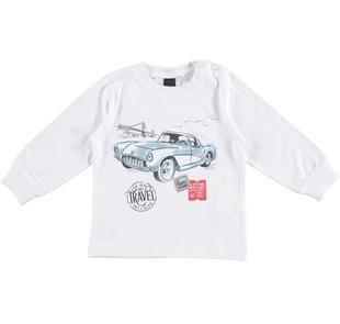 Maglietta girocollo stampa automobile ido BIANCO-0113