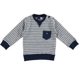 Maglietta girocollo 100% cotone in speciale felpa tinto filo ido GRIGIO MELANGE-8992