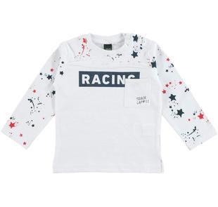 Maglietta racing 100% cotone ido BIANCO-0113
