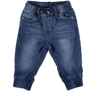 Pantalone in felpa stretch effetto denim delavato ido STONE WASHED-7450