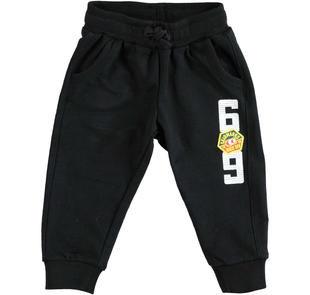 Pantalone 100% cotone con stampa tema rally ido NERO-0658