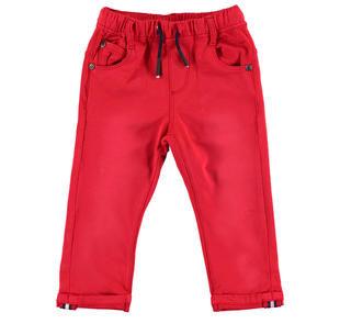 Pantalone in felpa stretch di cotone dall'effetto vissuto ido ROSSO-2256