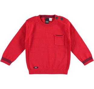 Maglia in tricot 100% cotone con taschino laterale ido ROSSO-2256