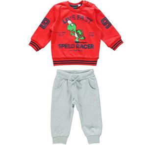 Tuta 100% cotone formata da maglietta con tartaruga e pantalone ido ROSSO-GRIGIO-8015
