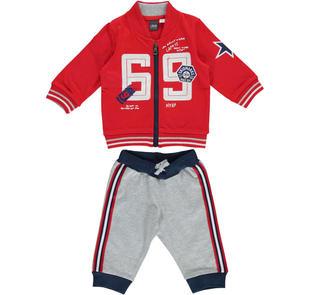 Tuta jogging due pezzi in jersey pesante ido ROSSO-GRIGIO-8015