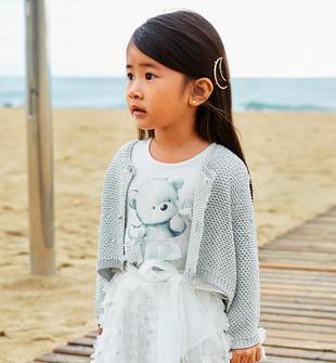 Cardigan bambina in tricot lurex misto viscosa effetto trinato ido SILVER-1157