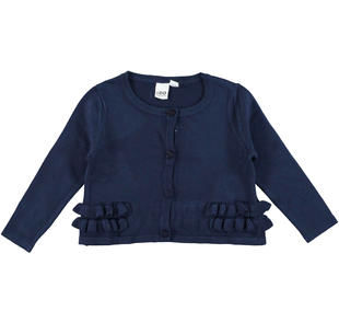 Cardigan in tricot misto viscosa con rouches ido NAVY-3854