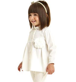 Maxi camicia a manica lunga in popeline di cotone elasticizzato ido PANNA-0112