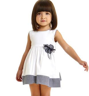 Vestitino scamiciato per bambina in popeline stretch di cotone ido BIANCO-0113