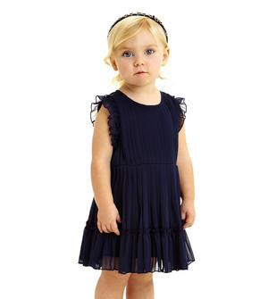 Vestitino in voile plissè per bambina con rouche ido NAVY-3854