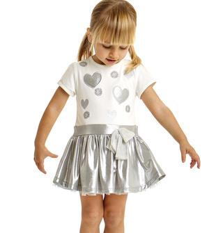 Vestitino in cotone con cuori ricamati e borchie effetto perlato ido PANNA-ARGENTO-8336