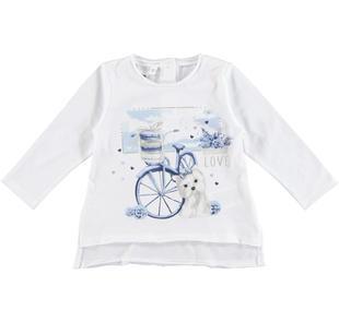 Dolcissima maglietta 100% cotone con rifiniture taglio vivo ido BIANCO-0113