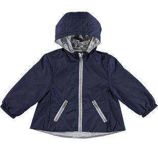 Colorata giacca a vento reversibile per bambina ido BLU-ARGENTO-8403