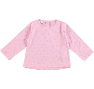 Romantica maglietta 100% cotone con cuori laminati ido ROSA-ARGENTO-6CV9