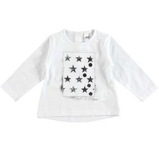 Maglietta 100% cotone con stelle e dettagli laminati ido BIANCO-0113