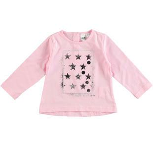 Maglietta 100% cotone con stelle e dettagli laminati ido ROSA-2762