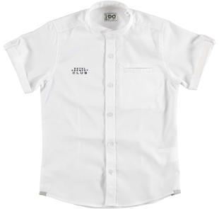 Camicia a manica corta in speciale cotone piccoli rombi ido BIANCO-0113
