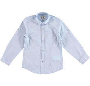 Camicia a manica lunga in speciale cotone con rombi ido AZZURRO-3637
