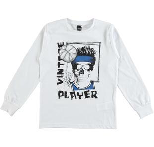 Maglietta girocollo 100% cotone con scheletro giocatore per bambino ido BIANCO-0113