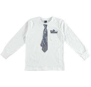 Maglietta 100% cotone con cravatta e taschino laterale stampati ido BIANCO-0113