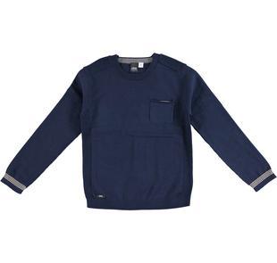 Maglia girocollo 100% tricot con rifiniture rigate ido NAVY-3856